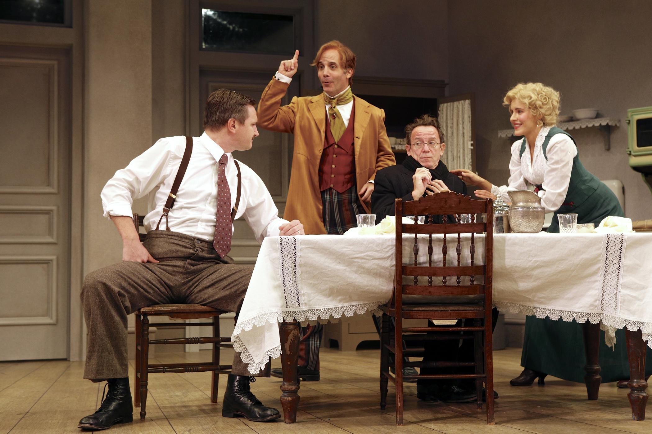 Theo Maske (Mark David Watson), Versati (Daniel Passer), and Benjamin Cohen (Michael Brian Dunn) make a fuss over Louise Maske's (Marianna McClellan) underpants ordeal