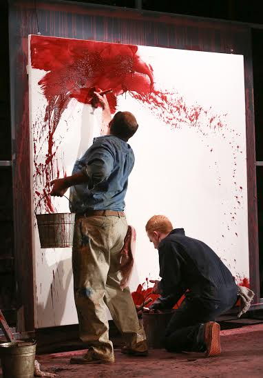Rothko angrily throws fistfuls of red powder at Ken and continued as both artists dipped their paint brushes into paint and water.