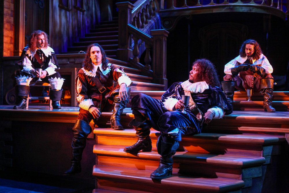 """Seth Andrew Bridges, Matthew Greer, Chaz Rose, and Travis Staton-Marrero in Syracuse Stage's production of """"The Three Musketeers"""". (Photo by Michael Davis)"""