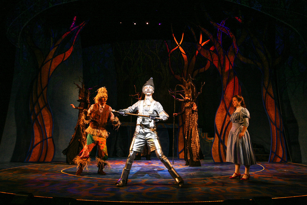 "Crawford Horton, Tucker Breder, and Kate Jarecki in Syracuse Stage's production of ""The Wizard of Oz."" Photo by Michael Davis."