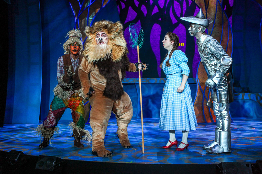 "Crawford Horton, Brian Michael Hoffman, Kate Jarecki, and Tucker Breder in Syracuse Stage's production of ""The Wizard of Oz."" Photo by Michael Davis."