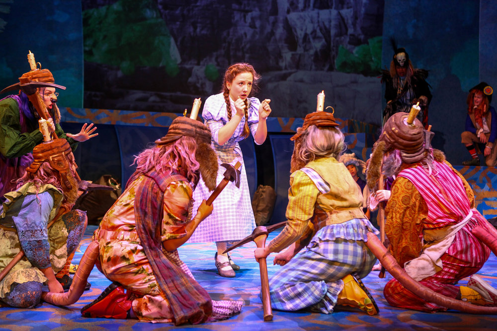 "Kate Jarecki and cast members in Syracuse Stage's production of ""The Wizard of Oz."" Photo by Michael Davis."