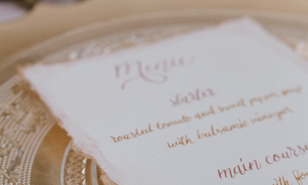 DAY OF PIECES - Wedding day pieces -place cards, menus, table numbers, etc. are one of our favorite things to work on to tight the final details of your wedding together. We offer a wide range of