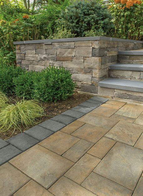 LEDGESTONE, TOFFEE/ONYX LITE  PHOTO CREDIT: PHOTO COURTESY OF CAMBRIDGE PAVINGSTONES
