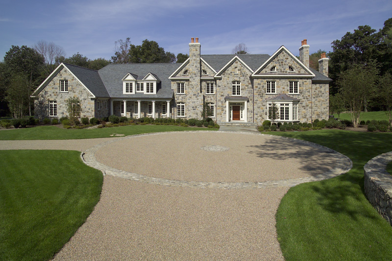 MATERIALS USED: A NATURAL VENEER STONE BLEND; SUMMERSWEET GRANITE, SQUARE AND RECTANGLE