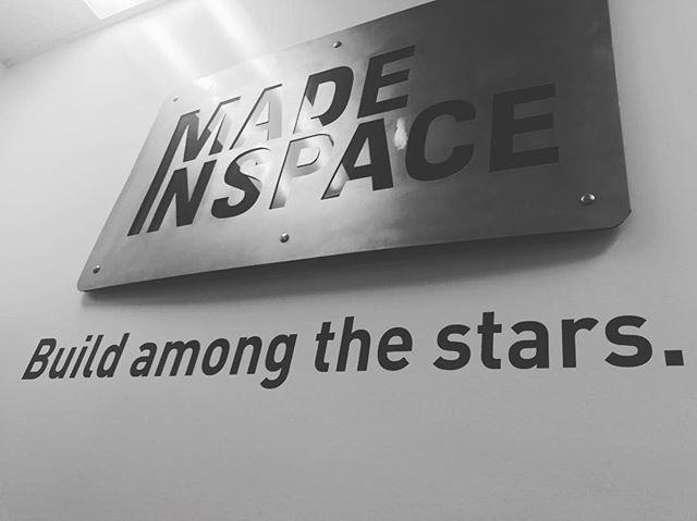 Some build on earth some build in space. Great to meet the @madeinspaceinc team #nasa