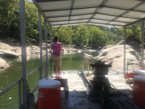 Dania navigating us up the might Wild and Scenic Cumberland River to stock the Aid Stations