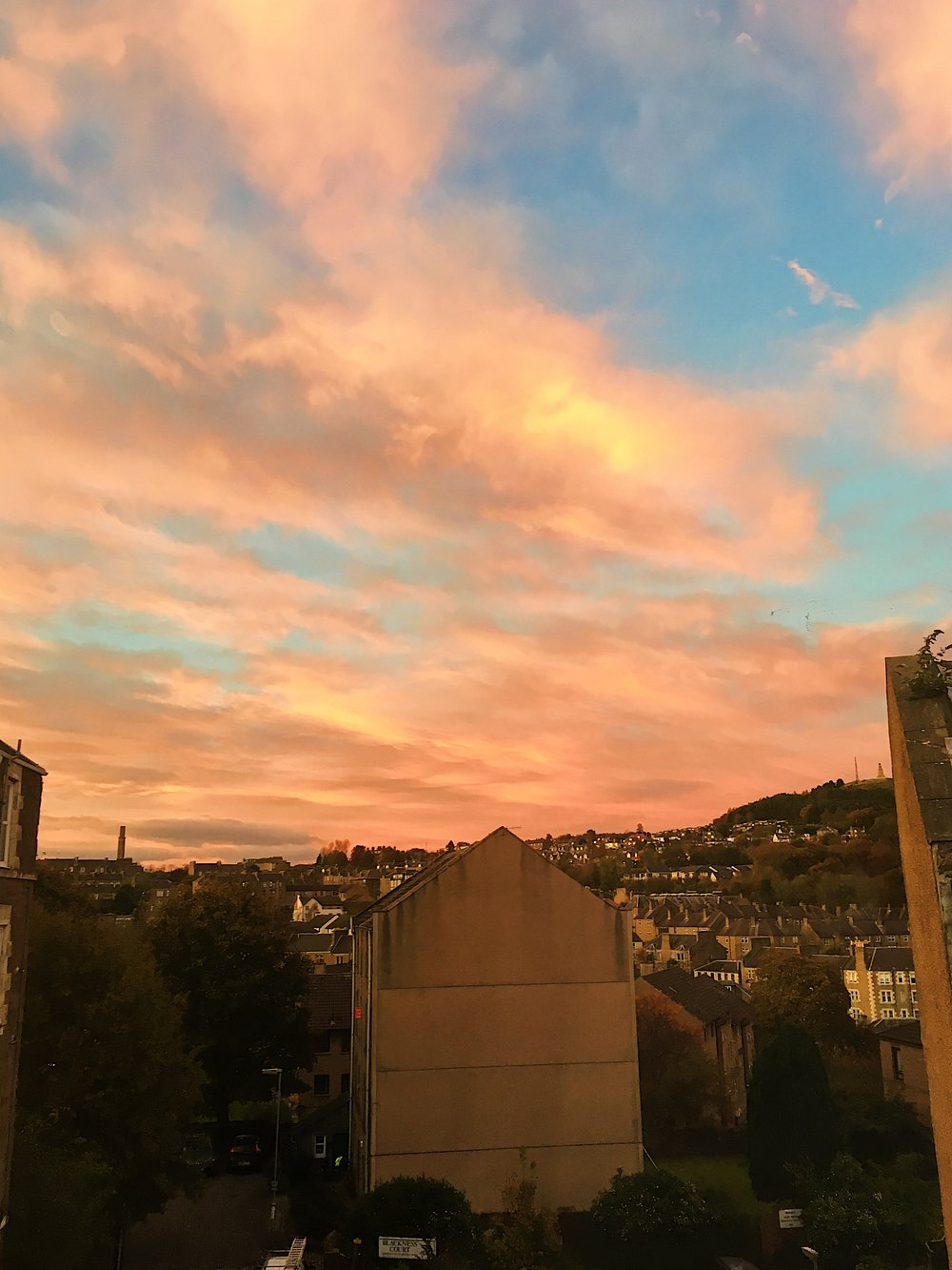 A glimpse from our window. Dundee sunsets have been magical.