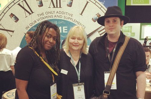Tracy Durrant (left) our online content manager, Cheryl Thallon (middle), founder of Viridian, Me (right) at the Natural & Organic Products Europe Show.