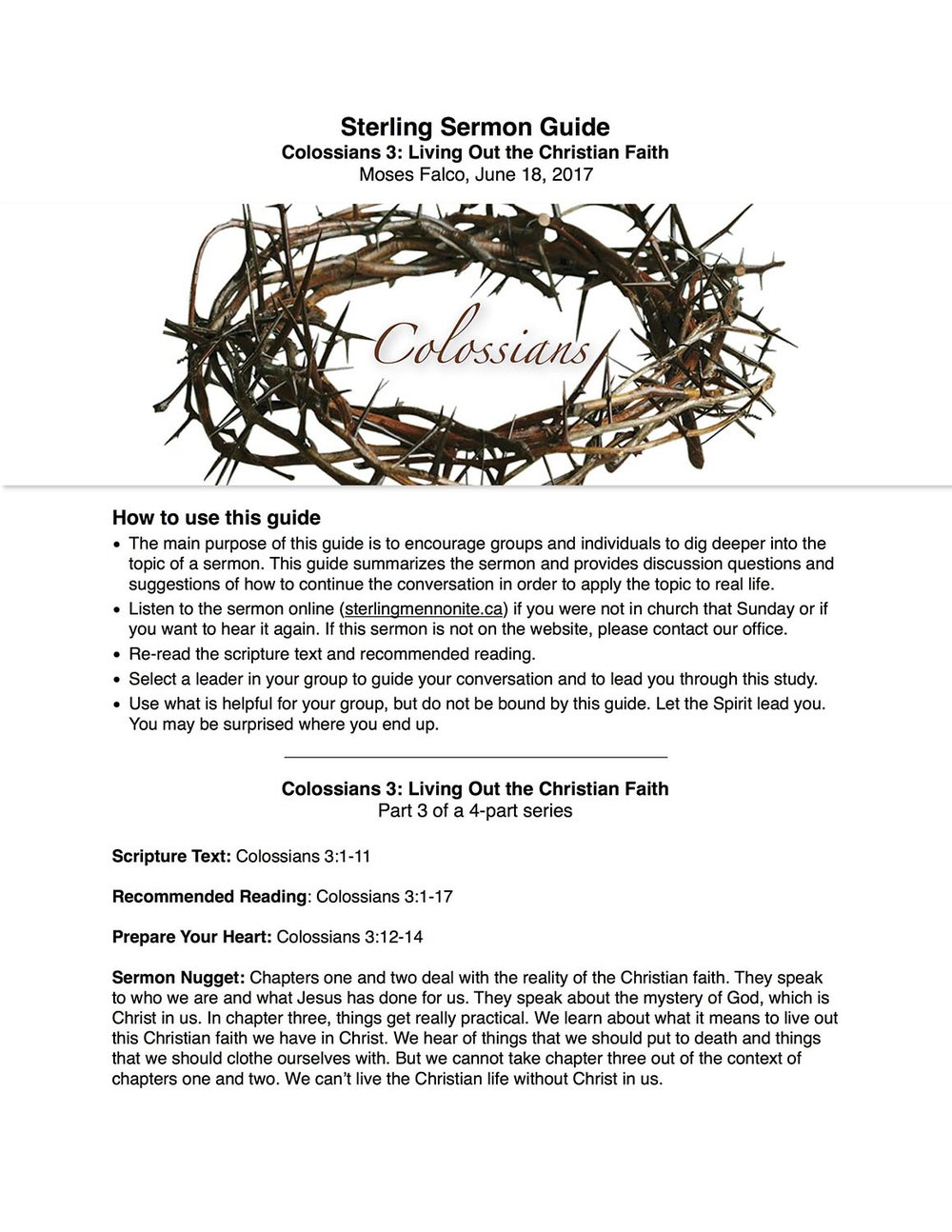 Colossians 3 - Sermon Guide