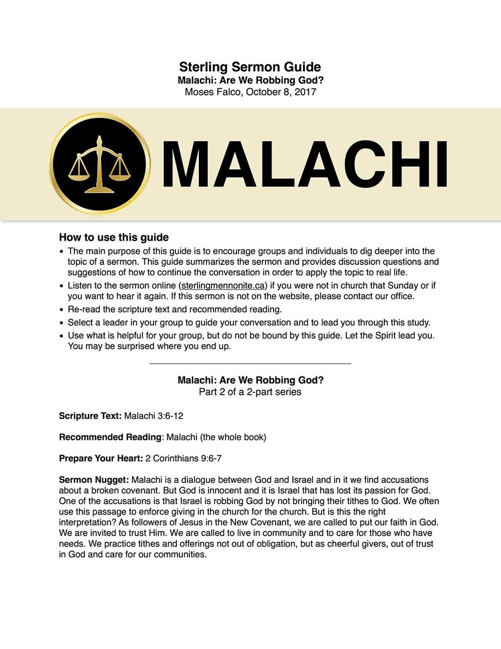 Malachi: Are we Robbing God?