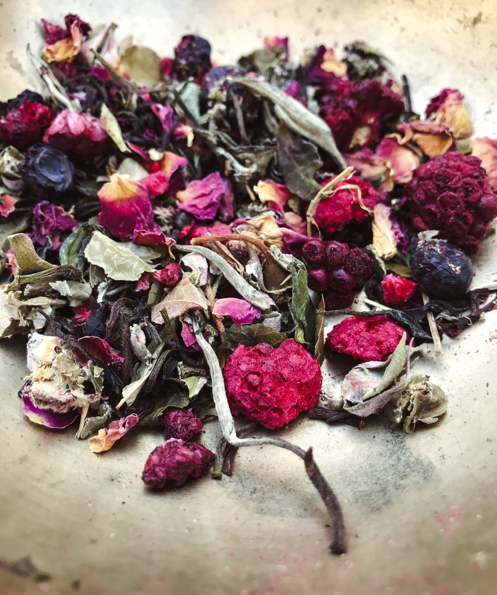 "May Teas - Our May tea suggestions evoke the vigorous growth of the countrysides in late spring, and the first big blossoms of early summer gardens. Think peonies, roses, vanilla, lilac, and berries . . . .We recommend cold-brewed Lady Monarch (cold-brewing protects and emphasizes the heady aroma of roses in this tea), iced Harmonia, and our NEW upcoming release, Kalliste. Kalliste means ""Most Beautiful,"" which accurately describes this juicy and floral oolong-based tea. It is equally delicious hot or iced.Stay tuned for more information on Kalliste!"
