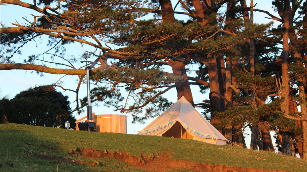 Glamping tent at sunset