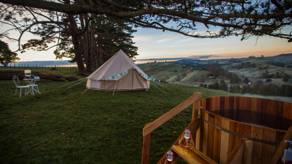 Just Hitched Glamping tent and hot tub