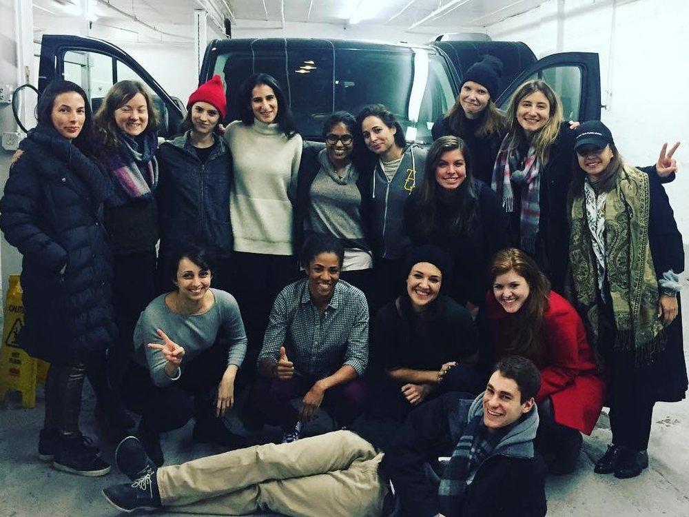 1 - van of women heading to the women's march.
