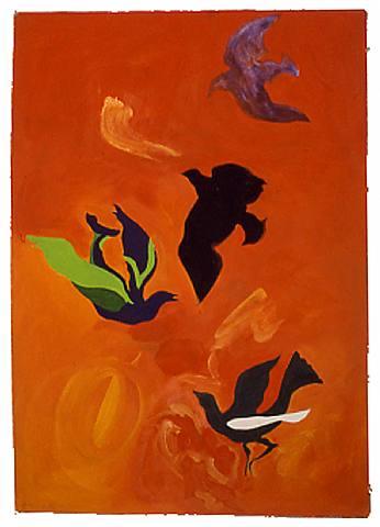 Birds in Orange Sky