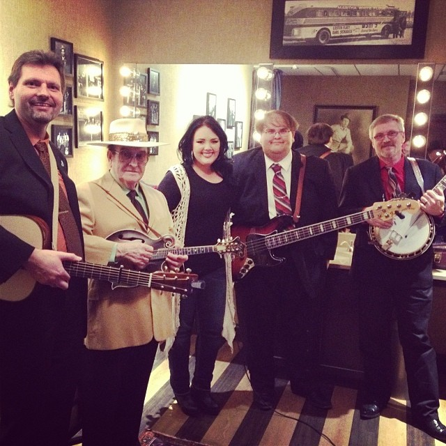 Joe Miller with Bobby Osborne Rocky Top Express in the Opre Bluegrass Greenroom.jpg