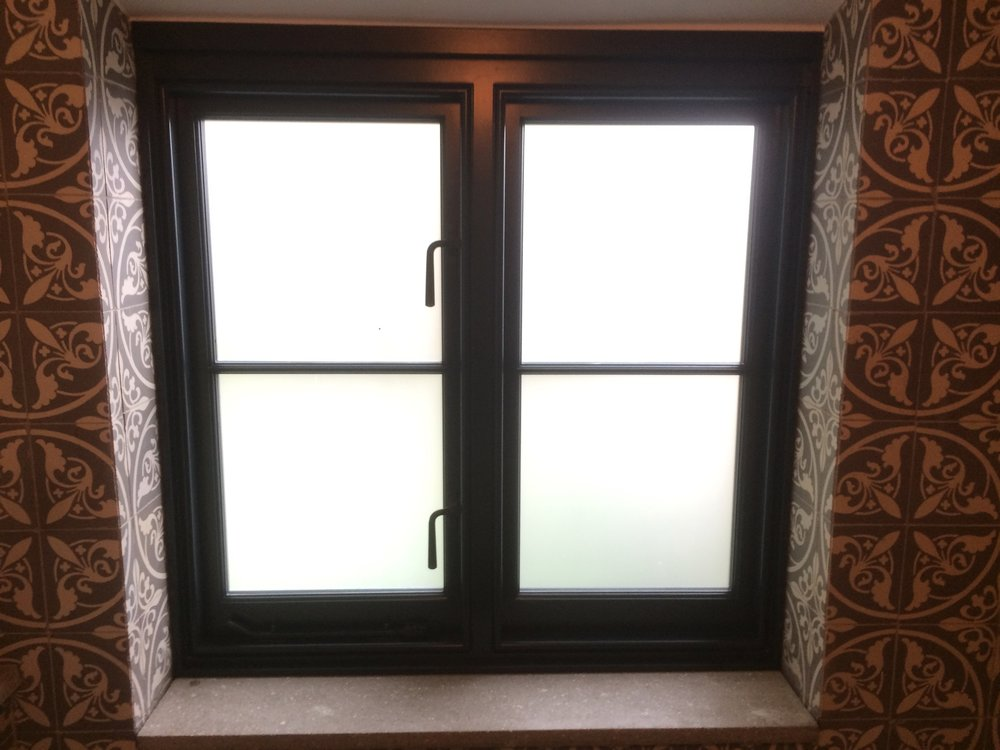A frosted glass window
