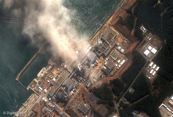 Aerial view of the damage to Fukushima I nuclear power plant.