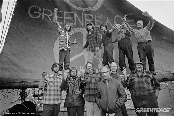 Crew of the Greenpeace, the original voyage to protest nuclear testing in Amchitka, 1971, with the ecology logo on our sail