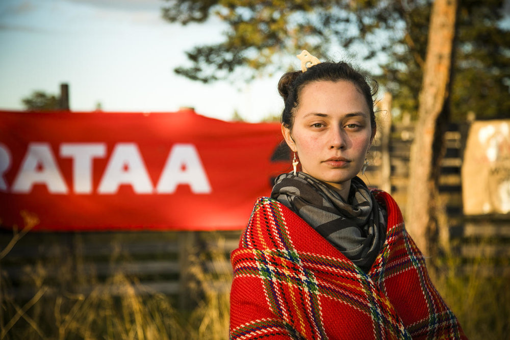 The Indigenous Sámi youth organisation Suoma Sámi Nuorat, Suohpanterror artivist collective and Greenpeace activists join in a demonstration against industrial exploitation of the Great Northern Forest in the Sámi territory in northern Finland early September 2018. © Jonne Sippola / Greenpeace