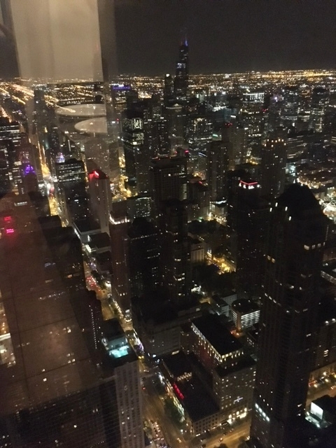 "View from the Bathroom at Hancock tower ""Signature Lounge at 95th"""