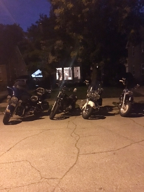 Riding Motorcycles in Grand Rapids, parked in front of Betsy and Andrew's adorable house. (Aaron, Nick & Maggie, Derek, Betsy & Andrew)