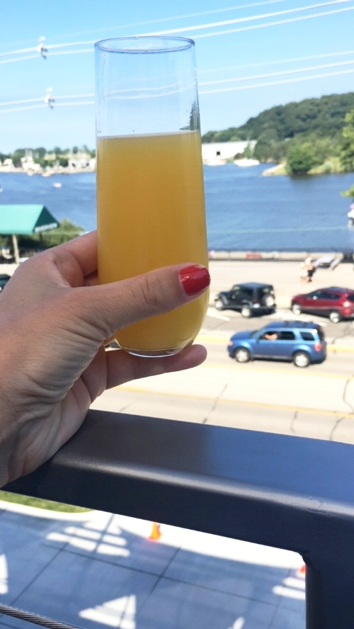 Started out the next day with a mimosa at Derek's parents house and they graciously made breakfast for us!