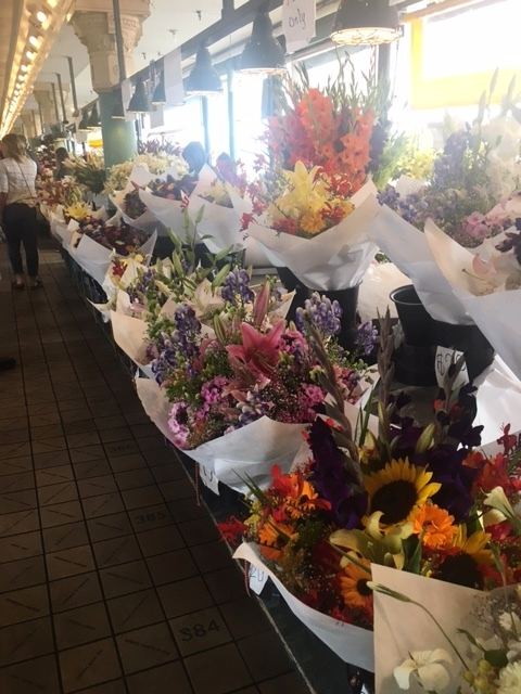 So many stands with fresh flowers.