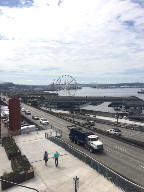 We walked on the other side of the market with a view of the Great Wheel and Elliott Bay.