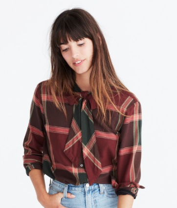 Madewell: Plaid Tie-Neck Shirt - $80