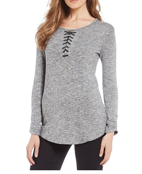 Democracy ruched sleeve lace up neck top - $48.00