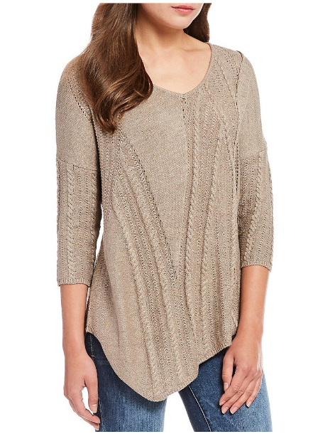 Democracy V-Neck asymmetrical hem cable mix sweater - $78.00