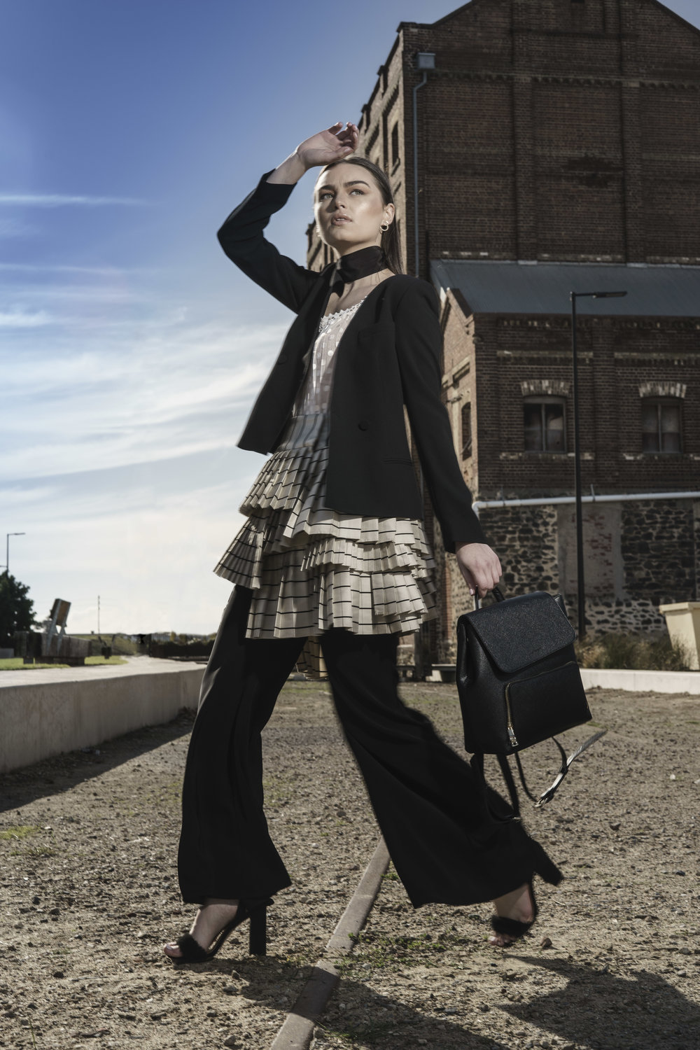 "Sunday Mail Fashion with Mirella, ""Manstyle"" shot at Pt Adelaide, Model Page from Finesse Models.  Photo: Nick Clayton"