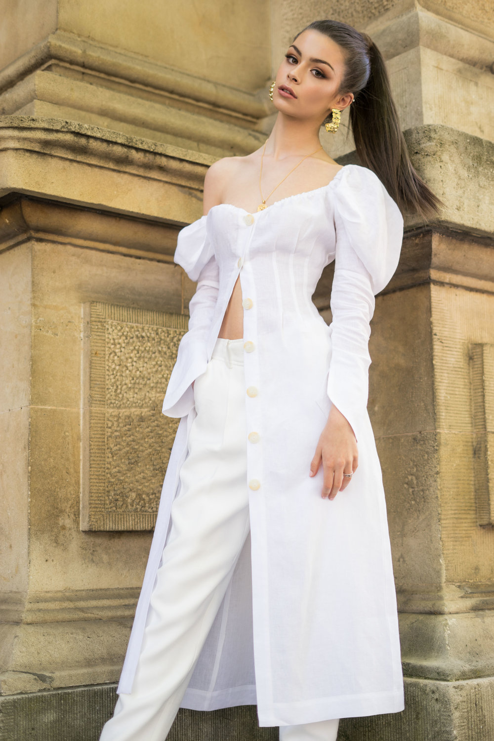 Sunday Mail  Fashion with MIrella,  White Fashion , King william  Street Adelaide . Model Olivia from Finess Models . Photo: Nick Clayton
