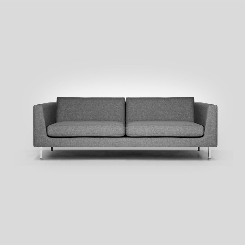 "Flip Sofa   Client: Fab  2014  It may look simple, but there is a lot of geometry and problem solving packed into the Flip.  This sofa family was born from the business pain point of SKU managment.  You want to offer a basic sofa in a range of sizes to hit all of your customers need.  Market research showed that customers wanted one of 3 sizes + a chair.  However your customer also needs to fit their style.  We had a customer that wanted a minimal sofa and a customer who loved the mid century style.  To produce 4 sizes in 2 styles adds up to 8 SKUs.  We thought ""what if you could could do it all with half the SKU's?""  Thats just what we did.  The Flip has back cushions that are tufted on only one side, allowing it to look minimal or mid-century.  We developed 2 different sets of legs: minimal chrome, and tapered walnut which highlights the subtle tapper to the arms and compliments the tufted back cushions to create the Mid-century look.  The legs are packaged separately allowing for a maximization of looks with less stock in the warehouse."