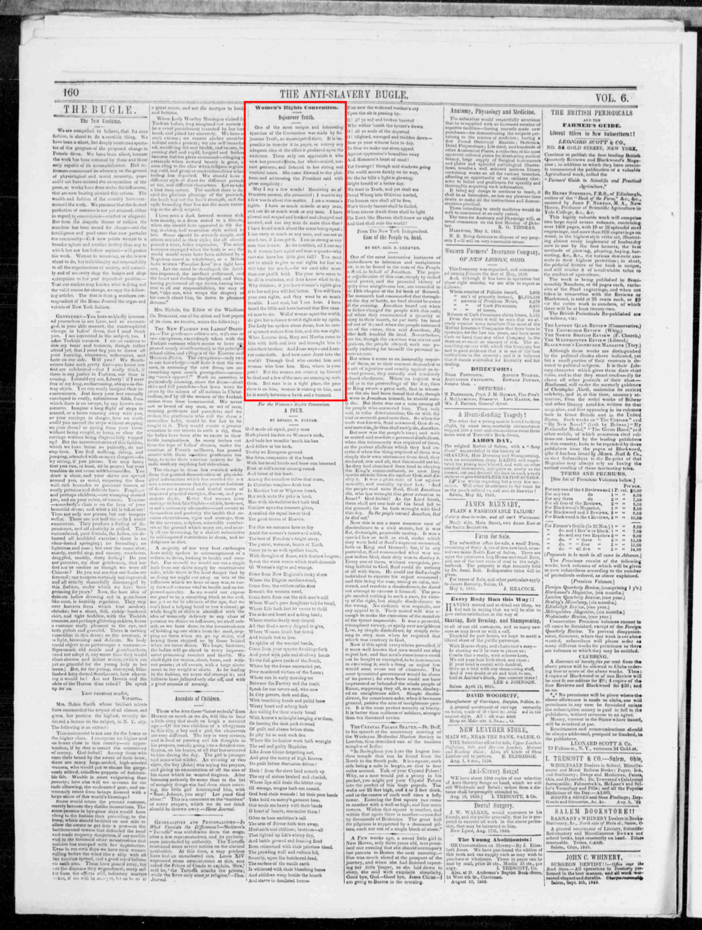 Sojourner's Speech, Transcribed by Marius Robinson;  Anti-slavery bugle. volume  (New-Lisbon, Ohio), 21 June 1851.  Chronicling America: Historic American Newspapers . Lib. of Congress.  Click here to    Zoom in >