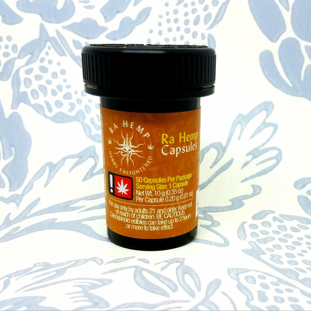 Ra Hemp Capsules produced by Sun God Medicinals