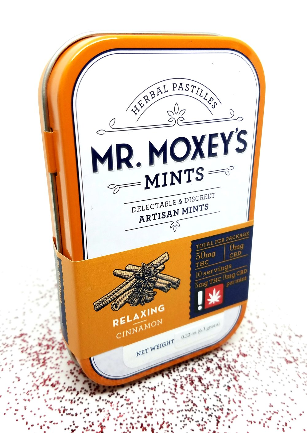 Cinnamon THC mints produced by Mr. Moxey's Mints