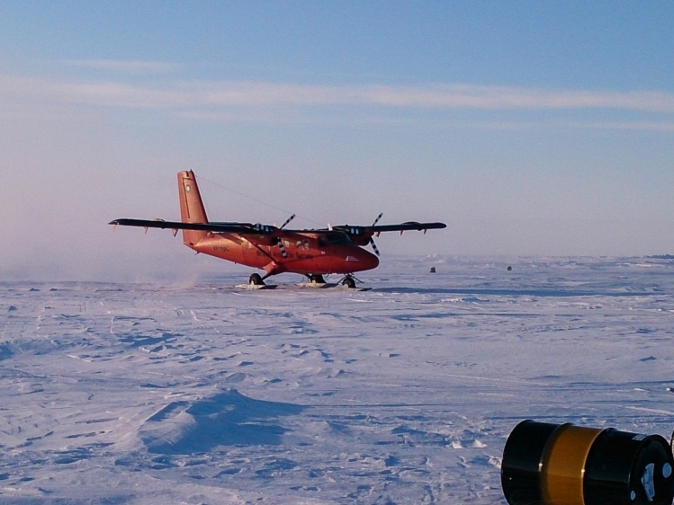 British Antarctic Survey Twin Otter landing at one of the four sea ice camps.
