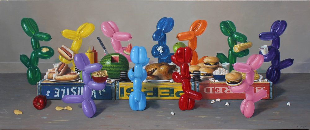 "Americana Feast, Oil on linen 30"" x 72"""