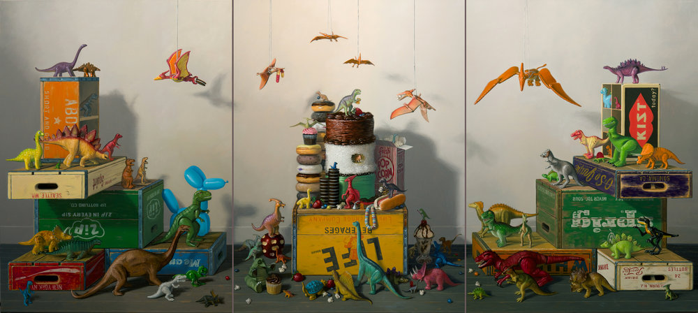 Dinosaur Feeding Frenzy, Oil on linen 4' x 9'