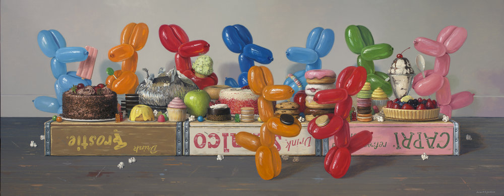 "Dessert Feast, Oil on linen, 24"" x 62"""