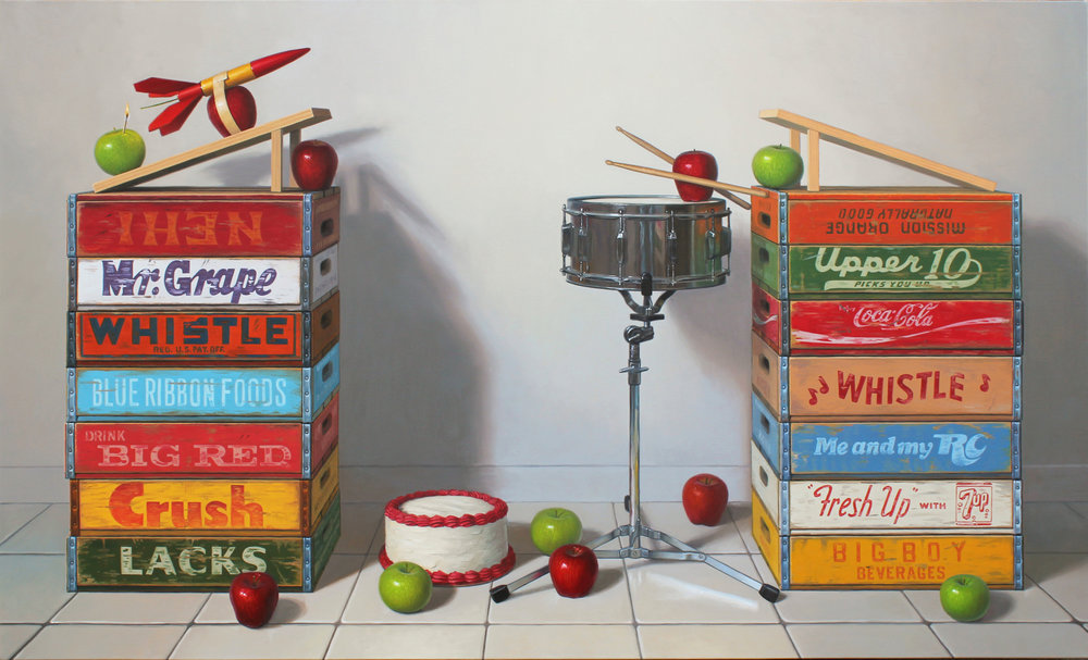 "Drum Roll Please, Oil on linen 48"" x 80"""