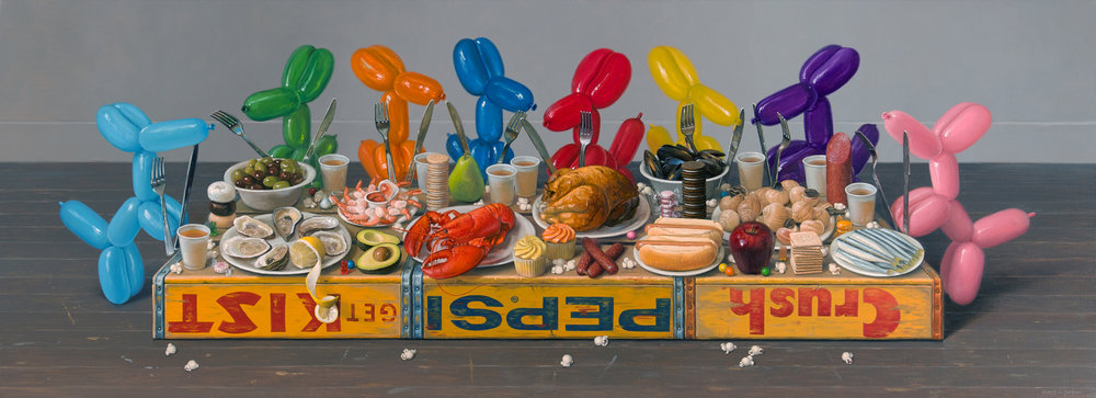 "The Feast, Oil on linen 26"" x 72"""