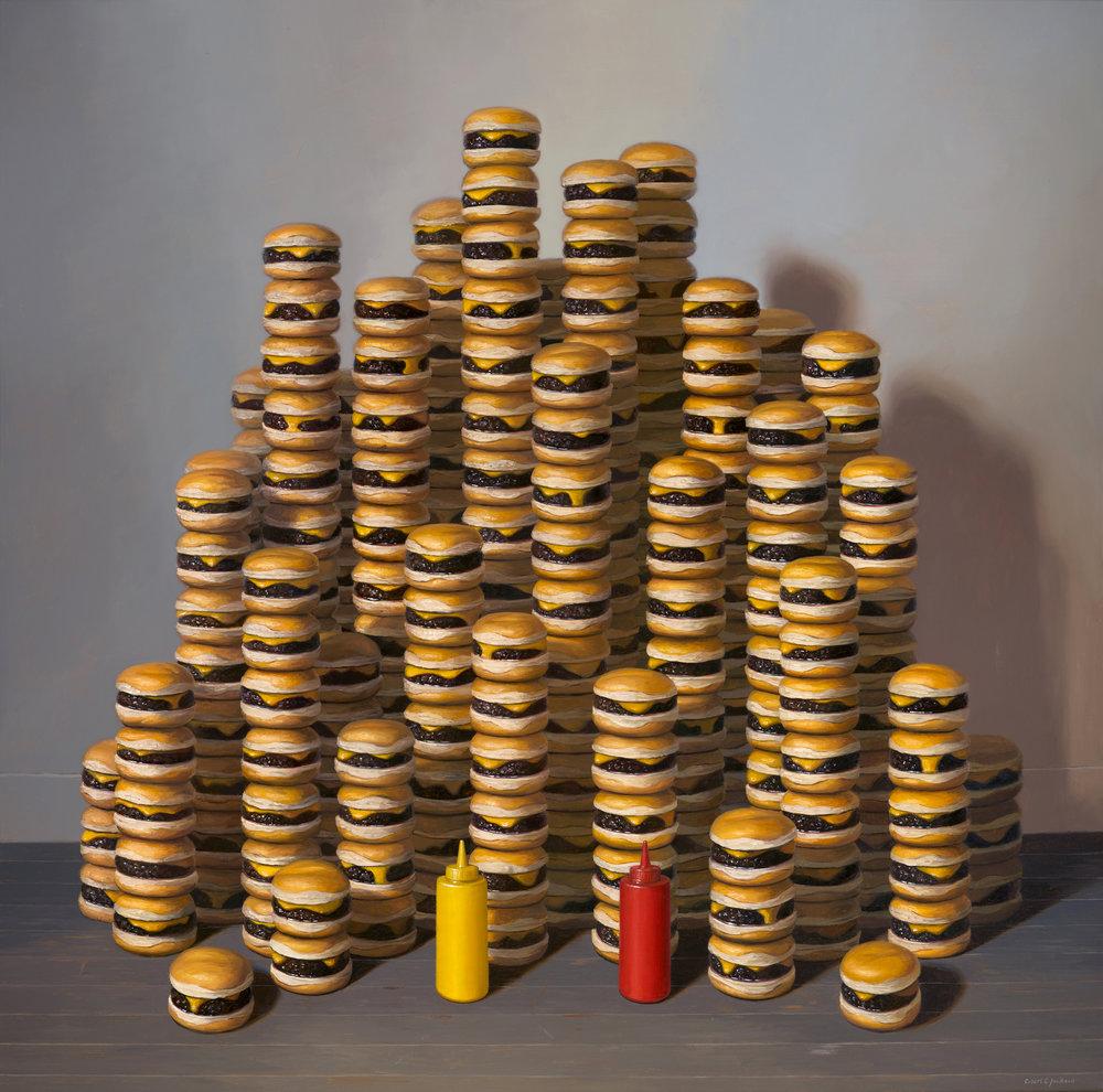 """Burgers, Oil on linen 48"""" x 48"""""""