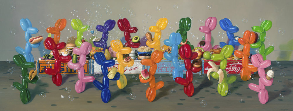 "Smorgasbord, Oil on Linen 36""x 96"""