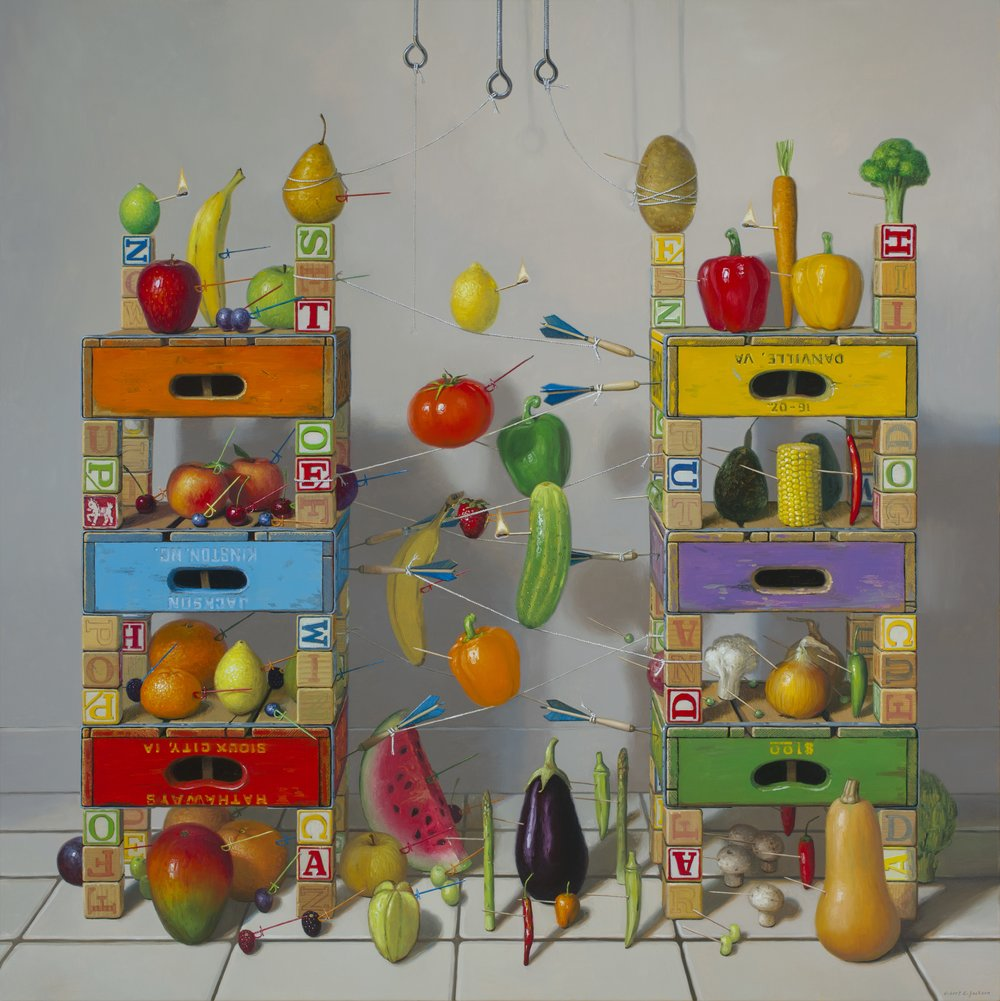 "Fruits vs. Vegetables, Oil on Linen 48""x48"""