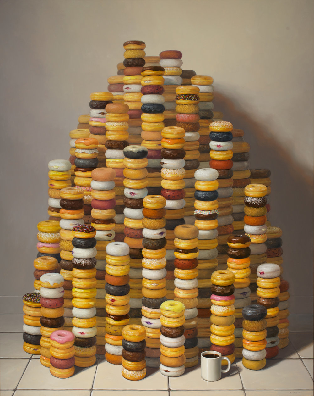 "More Donuts, Oil on linen 60"" x 48"""