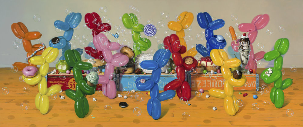 "Ideal Feast, Oil on linen 30"" x 72"""